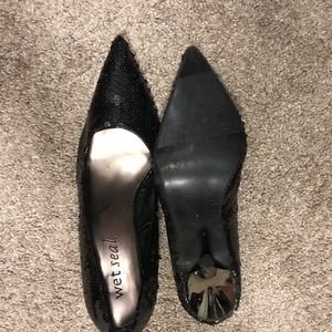 Wet Seal black sequence high heels size 8.5